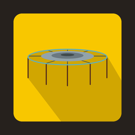 Trampoline icon in flat style isolated with long shadow