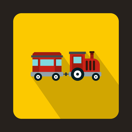 Children train icon in flat style isolated with long shadow Illustration