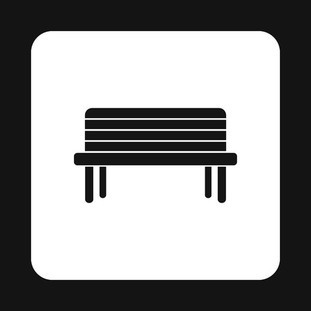 bench alone: Wooden bench icon in simple style on a white background