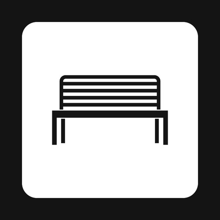 outdoor seating: Bench icon in simple style on a white background