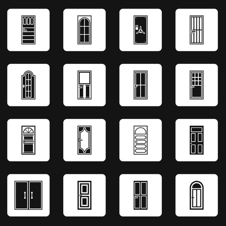 doorframe: Door icons set in simple style. Front doors with doorframe set collection vector illustration Illustration