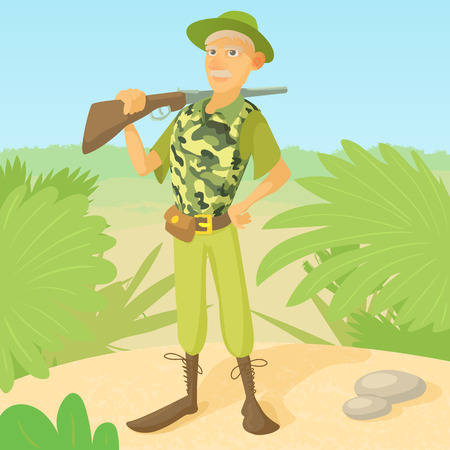 hunter man: Hunter with rifle on shoulder concept. Hunter man standing on the savannah background