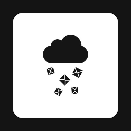 hailstone: Cloud and hail icon in simple style on a white background