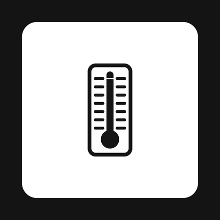 high temperature: Thermometer indicates extremely high temperature icon in simple style on a white background