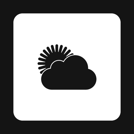 appears: The sun appears from behind the clouds icon in simple style on a white background Illustration