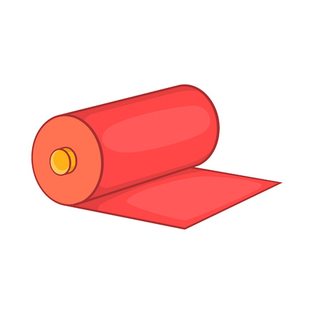 fabric roll: Red fabric roll icon in cartoon style isolated on white background
