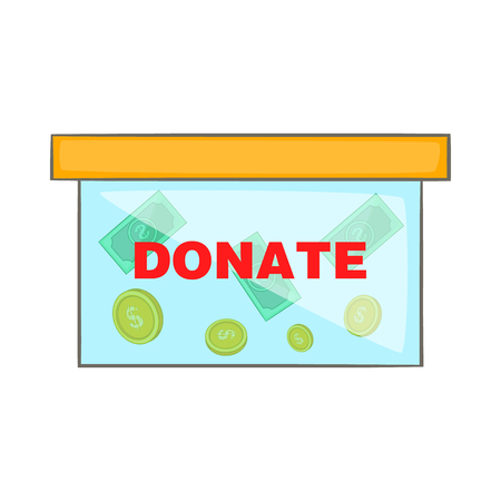 fundraiser: Coins in donate box icon in cartoon style isolated on white background