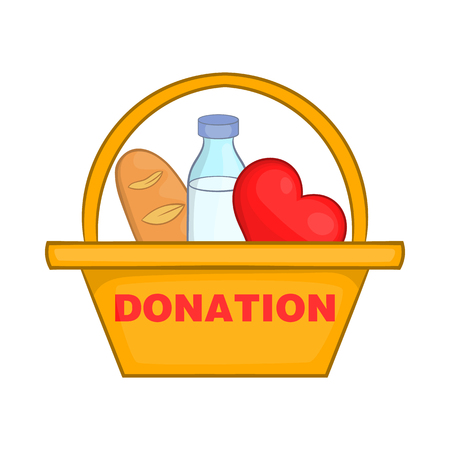 charity drive: Donation box with food icon in cartoon style isolated on white background