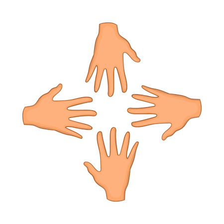 dependable: Hands of four people icon in cartoon style isolated on white background