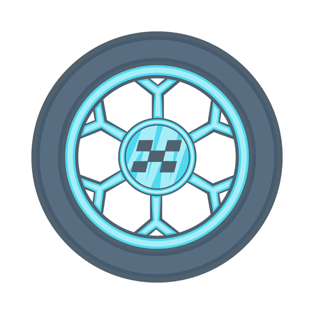 Wheel from racing car icon in cartoon style isolated on white background. Sport equipment symbol Illustration