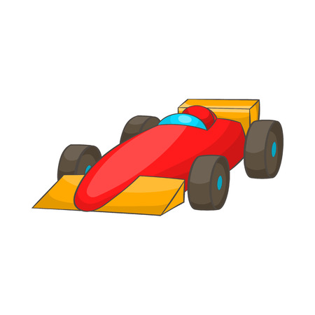 spoiler: Race car icon in cartoon style isolated on white background. Machine symbol