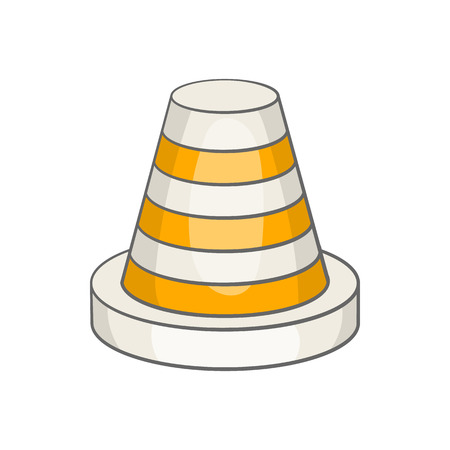 Traffic cone icon in cartoon style isolated on white background. Fencing symbol Illustration