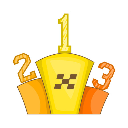 rewarding: Prize pedestal icon in cartoon style isolated on white background. Rewarding symbol