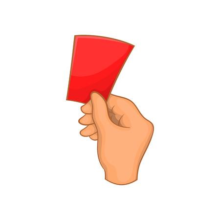 banish: Red card football icon in cartoon style isolated on white background. Sport symbol