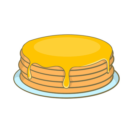 Pancakes with honey icon in cartoon style isolated on white background. Food symbol