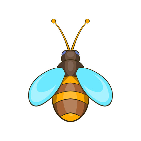 Bee icon in cartoon style isolated on white background. Insects symbol