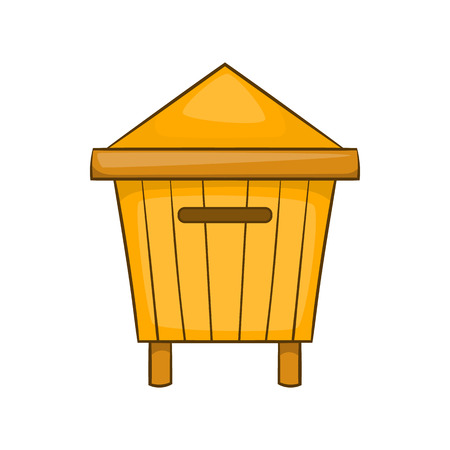 honeyed: Beehive icon in cartoon style isolated on white background. Bee house symbol Illustration
