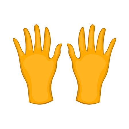 Rubber gloves icon in cartoon style isolated on white background. Hand protection symbol Illustration