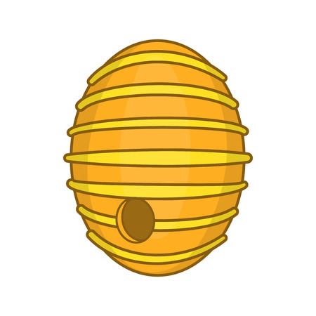 Round beehive icon in cartoon style isolated on white background. Bee house symbol