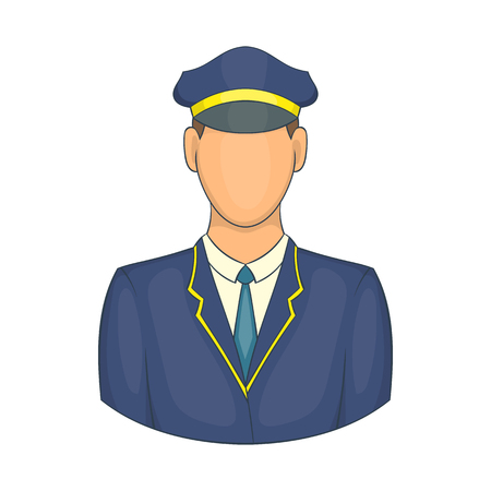 Driver of train icon in cartoon style isolated on white background. Job symbol Illustration