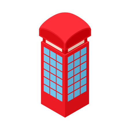 telephone box: Red telephone box icon in cartoon style isolated on white background. Conversations symbol