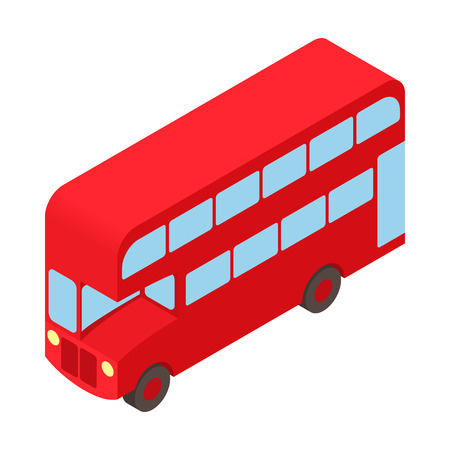double decker bus: Double decker bus icon in cartoon style isolated on white background. Transport symbol
