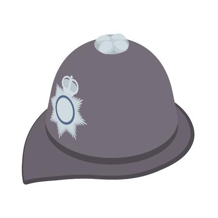 headdress: Headdress of english police icon in cartoon style isolated on white background. Headwear symbol Illustration