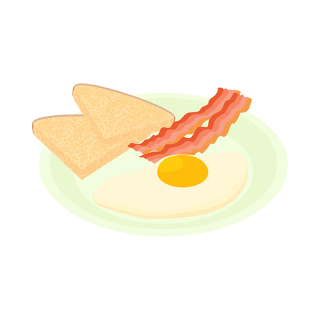 Bacon and eggs icon in cartoon style isolated on white background. Food symbol Illustration