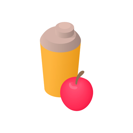 Water bottle and apple icon in cartoon style isolated on white background. Drink and food symbol Illustration