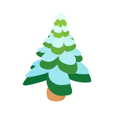 Snowy fir icon in cartoon style isolated on white background. New year symbol Illustration