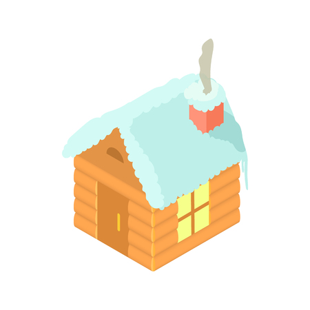 Snowy house icon in cartoon style isolated on white background. New year symbol