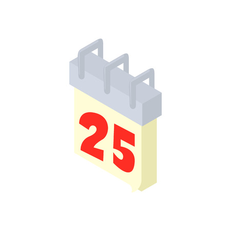 Calendar 25th icon in cartoon style isolated on white background. New year symbol Illustration