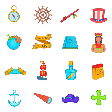 christopher: Columbus Day icons set in cartoon style. set collection. Sailing equipment vector illustration
