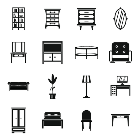 home furnishings: Furniture icons set in simple style. Interior decorations set collection vector illustration