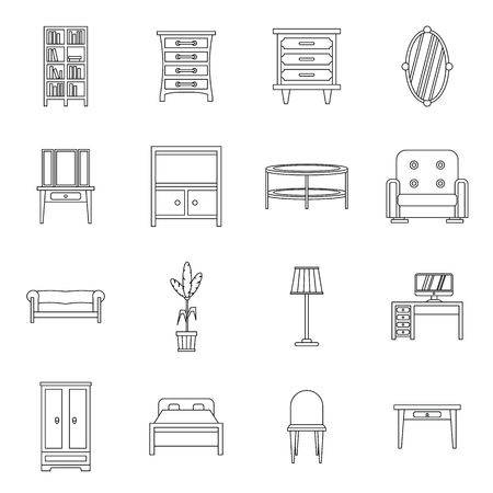 bedroom bed: Furniture icons set in outline style. Interior decorations set collection vector illustration Illustration