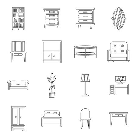 Meubelen pictogrammen instellen op hoofdlijnen stijl. Interieur set collectie vector illustratie Vector Illustratie