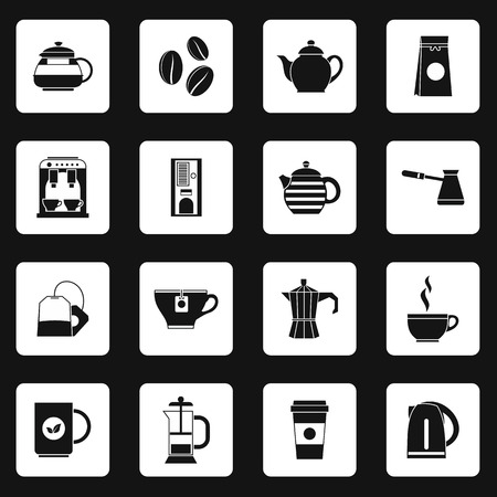 coffee icon: Coffee icons set in simple style. Tea set collection vector illustration Illustration
