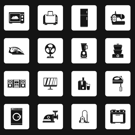 consumer electronics: Household appliance icons set in simple style. Consumer electronics set collection vector illustration