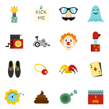 idiot box: April fools day icons set in flat style. Prank playful actions set collection vector illustration Illustration