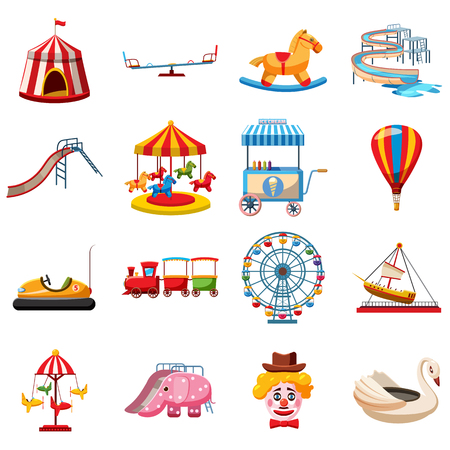 attraction: Amusement park icons set in flat style. Attraction park set collection vector illustration Illustration