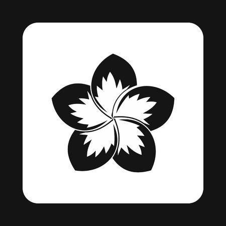 frangipani flower: Frangipani flower icon in simple style isolated on white background. Plant symbol Illustration