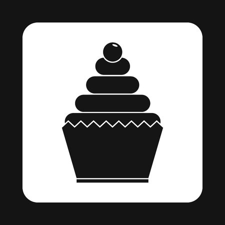Cupcake Icon In Simple Style Isolated On White Background Food