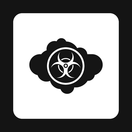 contaminate: Radioactive cloud icon in simple style isolated on white background. Danger symbol