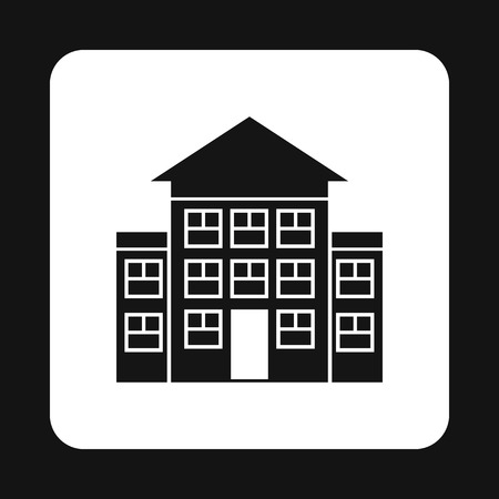 storey: Three storey house icon in simple style isolated on white background. Building symbol Illustration