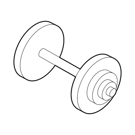 barbel: Barbell icon in outline style isolated on white background