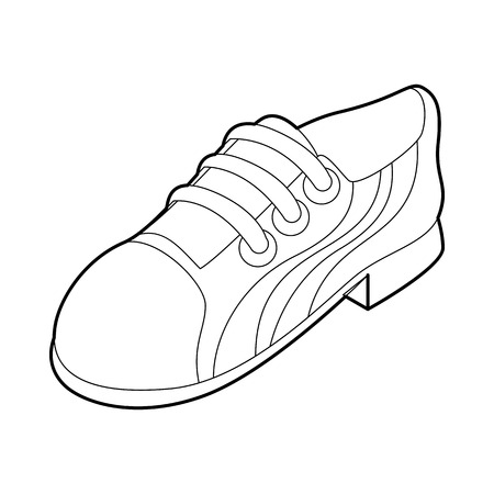 foot gear: Running shoe icon in outline style isolated on white background