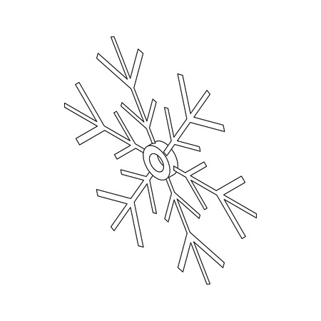 lightweight ornaments: Snowflake icon in outline style isolated on white background