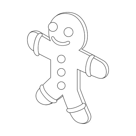 gift accident: Gingerbread man icon in outline style isolated on white background