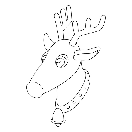 Deer head icon in outline style isolated on white background