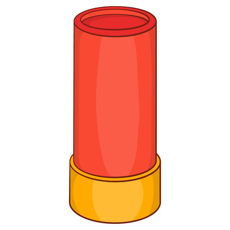 Shotgun shell icon in cartoon style on a white background